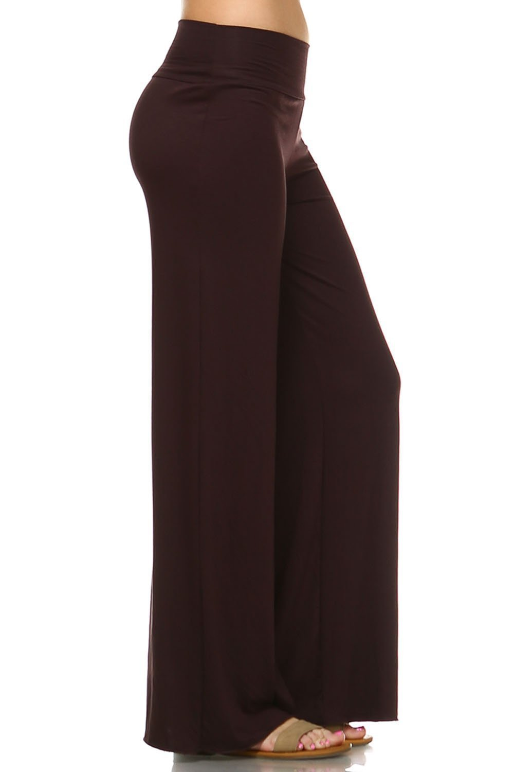 Simplicitie Women's Casual Wide Leg High Waist Bohemian Palazzo Pants - Brown, Small - Made in USA