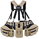 Professional Comfort-Rig Tool Belt With Suspenders (Adjustable System with 2-Power Tool Hooks)