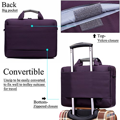 BRINCH Nylon Waterproof Laptop Case with Side Pockets for Macbook Pro Retina 15 inch Mini Asus/DELL/HP/Samsung ,15.6-Inch, Purple by BRINCH (Image #4)'