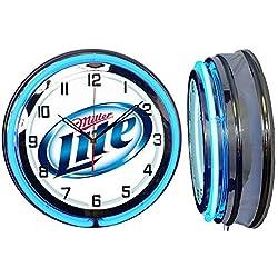 Checkingtime 19 Miller Lite Beer Neon Clock, Two Neon Tubes, Blue Outside Tube