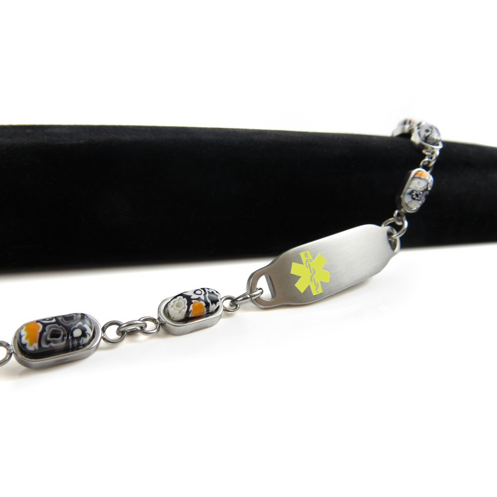 My Identity Doctor Black//White Millefiori Glass Yellow Pre-Engraved /& Customized Organ Donor Medical Bracelet