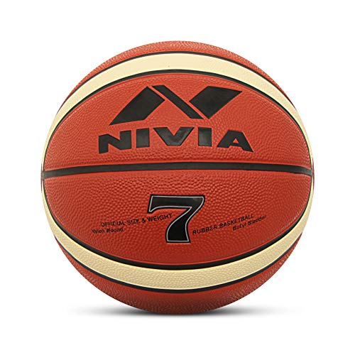 Nivia ENGRAVER Rubber Basketball   Size: 7, Color : Multicolour, Ideal for : Training/Match