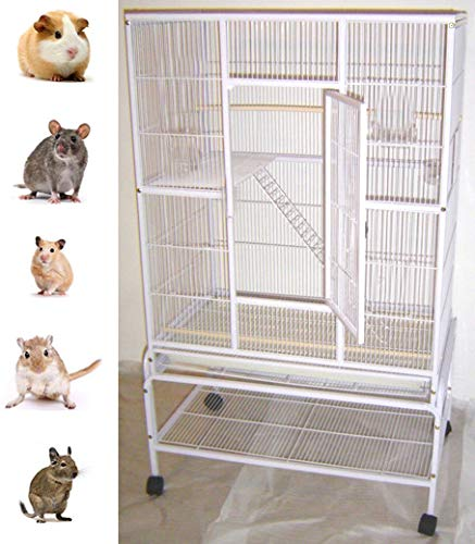 New Large Wrought Iron 4 Levels Ferret Chinchilla Sugar Glider Rats Cage With Removable Stand, 32-Inch by 19-Inch by 60-InchWhite Vein