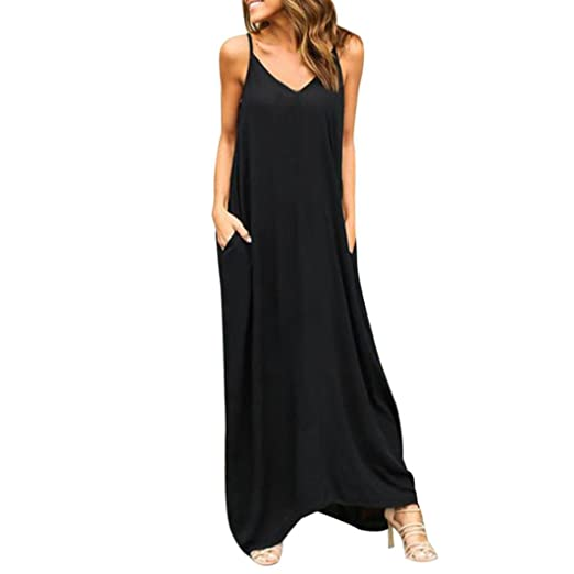 Loose Dress,Lamolory Womens Casual Loose Pocket Long Dress Short Sleeve Split Maxi Dresses (