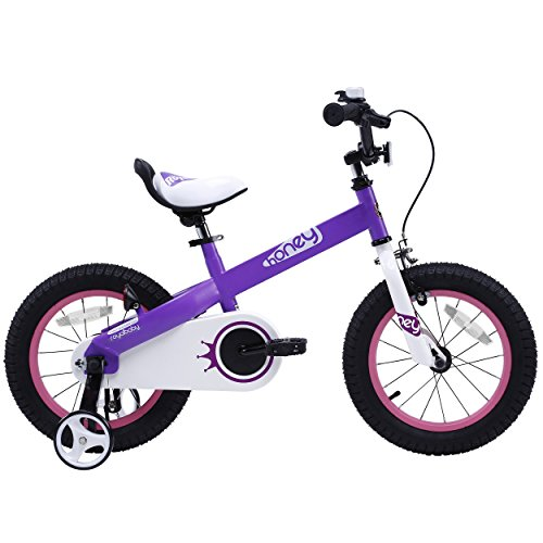 RoyalBaby CubeTube Kid's bikes, unisex children's bikes with training wheels, various trendy features, gifts for fashionable boys & girls, Lilac Honey, 14 - For Purple Honey Sale
