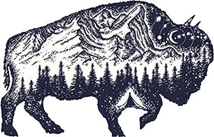 4 Wide Cool Mountain Forest Range in Buffalo Cartoon Vinyl Decal Sticker