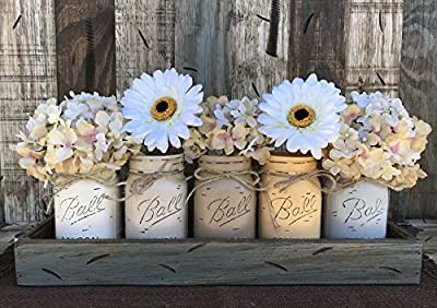 Mason Canning JARS in Wood RIVER ROCK Gray Blue Tray Centerpiece with 5 Ball Pint Jar -Kitchen Table Decor -Distressed -Flowers (Optional)- CREAM, SAND, COFFEE, EGGNOG, GRAY Painted Jars (Pictured)