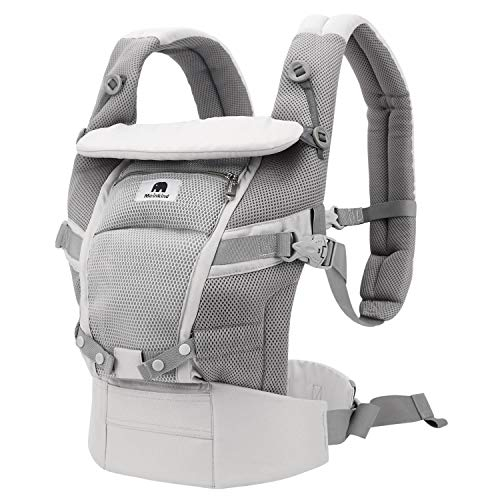 Meinkind Baby Carrier, 4-in-1 Convertible Carrier Ergonomic Soft Breathable Comfortable Baby Carrier for 7~45lbs Baby, Front Back Carrier with Head Support, Padded Shoulder Strap, Sunshade, Grey (Best Rated Infant Carriers)