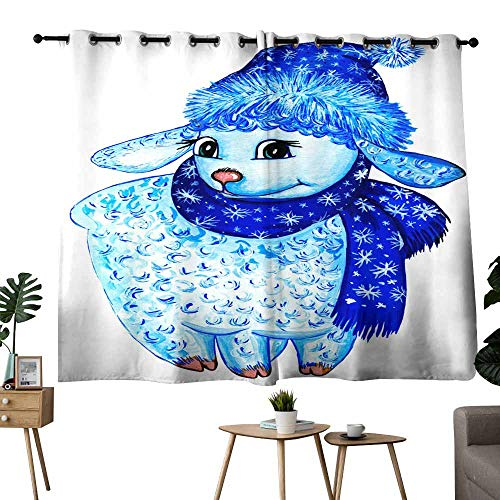 Mannwarehouse Heat Insulation Curtain Blue Curly Hand-Painted Lamb in a New Year s hat and Scarf with a Pattern on a White Background is Isolated 70%-80% Light Shading, 2 Panels,63