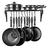pot and pan shelves - Kitchen Wall Mounted Pot Rack,Pan Lid Shelf,Cookware Storage With 10 Hooks,Black