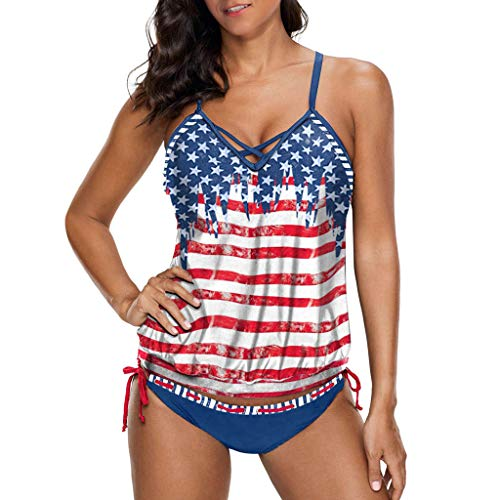 - Patriotic Bathing Suit Bikini Shirt and Striped Strappy Swimwear Independence Day Top National Flag Printed Bathing Suit