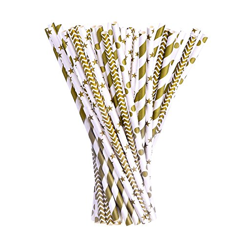 eBoot-Paper-Straws-Gold-Dot-Stripe-Wave-Star-Drinking-Straw-for-Birthday-Wedding-Celebration-Christmas-100-Pack