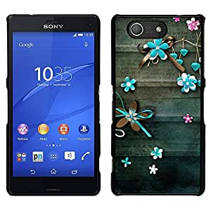 A-type Arte & diseño plástico duro Fundas Cover Cubre Hard Case Cover para Sony Xperia Z3 Compact / Z3 Mini (Not Z3) (Teal Lines Floral Rustic Wood)