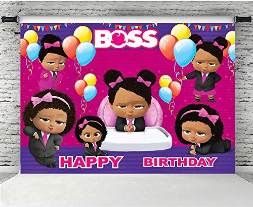 MMY 7x5ft Boss Baby Theme Photography Backdrop Girls Happy Birthday Baby Shower Party Pink Background Cake Table Large Banner Photo Booth Props]()