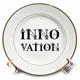 3dRose Alexis Design - Mechanical Engineering - Innovation elegant text in two lines on white background - 8 inch Porcelain Plate (cp_286082_1)