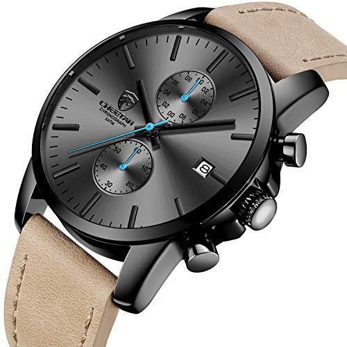 Men's Fashion Sport Quartz Watches with Leather Strap Waterproof Chronograph Watch, Auto Date in Blue Hands, Color: Black, Brown (Waterproof Leather Watch Mens)
