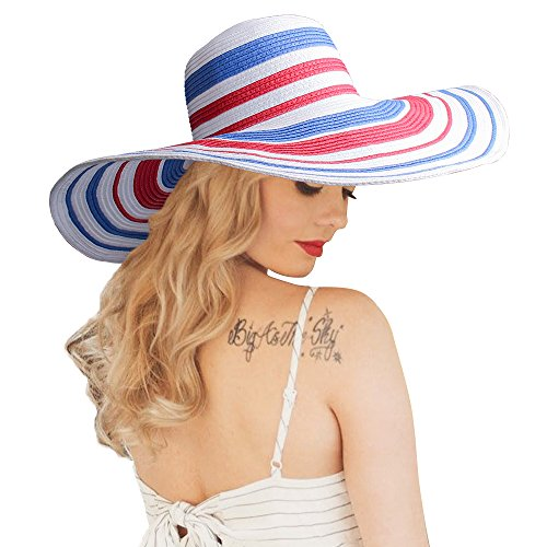 HooYL Beach Sun Hat - Womens Adjustable Striped Straw Floppy...