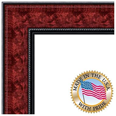 ArtToFrames 20x24 inch Mahogany and Burgundy With Beaded Lip Picture Frame, WOMN9590-20x24