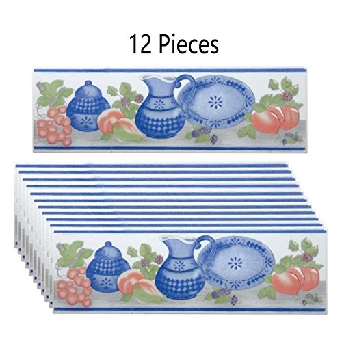 Renovators Supply Manufacturing Ceramic Tile Border Listello Blue and White 3in X 10in Pack of 12