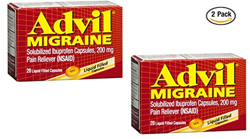 20 Liquid Capsules - Advil Migraine Liquid Filled Capsules 20ct 200mg Advanced Medicine For Pain (Pack of 2)