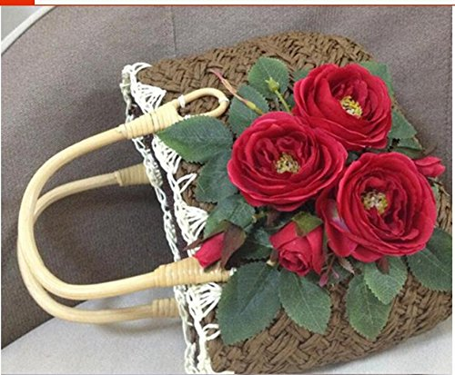 Luxe Voyage Main De D'Herbe Sacs Fleurs Pour Nouveaux De Meaeo Beach Femmes Sac De Sacs Sacs Fait Femmes Main Des Paille Les À Tissé qgEzxwaHn