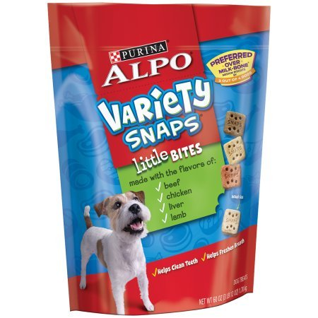 Purina ALPO Variety Snaps Little Bites Dog Treats with Beef, Chicken, Liver & Lamb Flavors 60 oz. Pouch, Pack of 2 Boxes (120 oz Total) For Sale