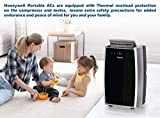 Honeywell MN12CES Portable Air Conditioner with Fan & Dehumidifier with Thermal Overload Protection, 12000 BTU, Black/Silver, Rooms Up To 400-550 Sq. Ft