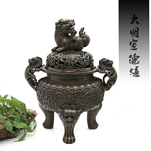 Handmade Brass Censer (Wealth & Luck) Incense Burner - Contain Incense Holder - Net Weight:1150g (Approx.) Hand-made Chinese Classical Style Traditional Technology (Traditional Incense)