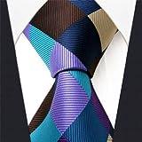 Intrepid Corporate Elite Sky Blue, Blue , Brown and Purple Checked Pattern Men's Necktie Tie 100% Silk Jacquard Handwoven Woven