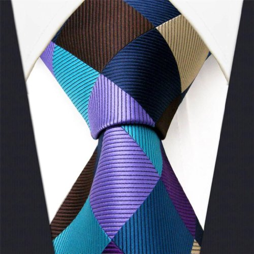 Intrepid Corporate Elite Sky Blue, Blue , Brown and Purple Checked Pattern Men's Necktie Tie 100% Silk Jacquard Handwoven Woven by Intrepid