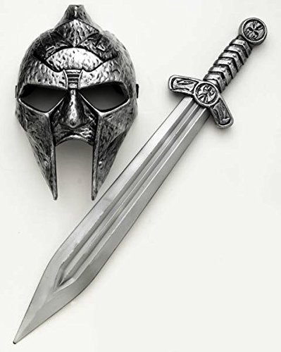 Silver Roman Greek Gladiator Mask and Sword Adult Mens Costume Accessory Set (Halloween Gladiator Accessories)