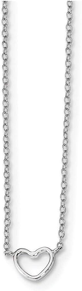 Lex /& Lu Sterling Silver w//Rhodium Heart Necklace 16 LAL112526
