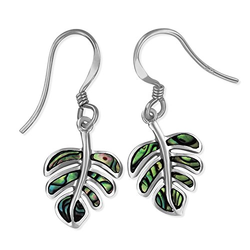 Shell Silver Abalone Sterling (Sterling Silver Abalone Shell Monstera Dangle Earrings)