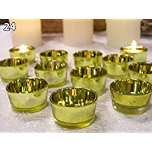 Gold Glass Tea Light Candle Holders - Set of 24 - Gold Candle Holders - 50th Wedding Anniversary - Wedding Decorations - New Years Eve Candles - Glass Candle Holders