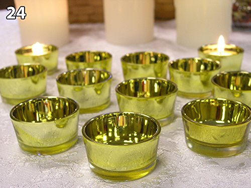 Gold Glass Tea Light Candle Holders - Set of 24 - Gold Candle Holders - 50th Wedding Anniversary - Wedding Decorations - New Years Eve Candles - Glass Candle Holders ()