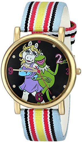 Muppets Women's MU1011 Kermit and Miss Piggy Dial Multi-colored Stripe Grosgrain Strap Watch (Miss Piggy Watch)