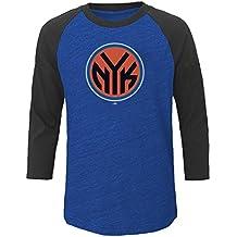NBA New York Knicks Adult men NBA Plus 3/4 Sleeve Hyper Slub,6X,Roy Hth/Cha Hth