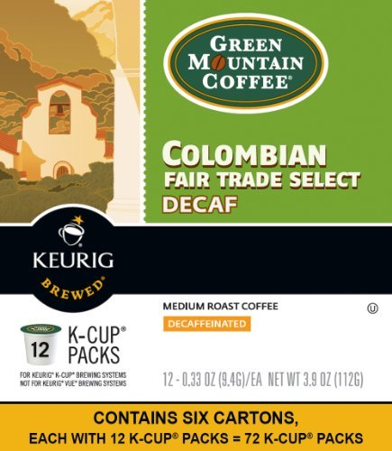 Keurig, Green Mountain Coffee, Colombian Fair Trade Select Decaf, K-Cup packs, 72 Count FlavorName: Colombian Fair Trade Select Decaf Size: 72 Count Home & Kitchen