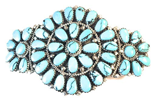 Vintage Navajo Sterling Turquoise Cluster Barrette Signed from Nizhoni Traders LLC