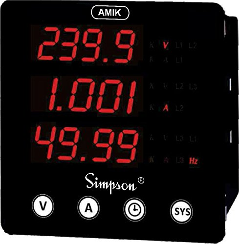 A100 - Digital Panel Meter, Three Phase, AMIK 100 Series, 40 to 300 Vac/dc by Simpson