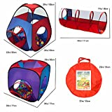 Playz 4pc Pop Up Children Play Tent w/ 2 Crawl Tunnel & 2 Tents - Kids Play Tents for Boys, Girls, Babies and Toddlers for Indoor & Outdoor Use - Large Children Playhouse w/ Zipper Storage Case