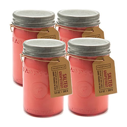 Paddywax Candles Relish Jar Collection Candle, 9.5-Ounce, Pink Salted Grapefruit - Set of 4