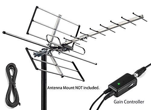 Price comparison product image pingbingding Outdoor Antenna Digital Amplified HDTV Antenna with Adjustable Amplifier and 32FT Coaxial Cable, 120 Miles Range, Extremely High Performance for UHF and VHF