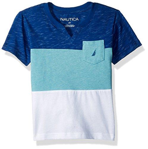 Nautica Big Boys' Short Sleeve V-Neck Printed Shirt, Kai Monaco Blue, Large (14/16)