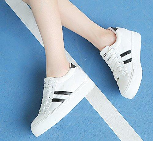 Aisun Damen Plateau Canvas Freizeitschuh Schnürsenkel Sneakers Rund Zehen Slipper Weiß