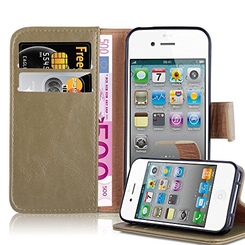 Cadorabo Book Case Works with Apple iPhone 4 / iPhone 4S in Cappucino Brown - with Magnetic Closure, Stand Function and Card Slot - Wallet Etui Cover Pouch PU Leather - 4s Flip Cover