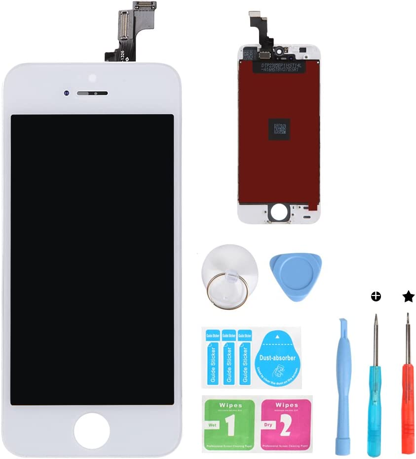 HSX_Z Screen Replacement for iPhone 5s White 3D Touch Screen LCD Digitizer Replacement Frame Display Assembly Set with Repair Tool Kits