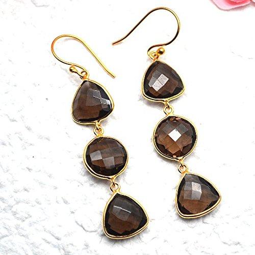 Smoky Topaz Earrings, Dangle Drop Earring, Smoky Topaz Gemstone Earrings, Gold Hook Earrings, GemMartUSA - Earrings Smoky 24k