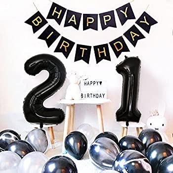 Birthday Party Decorations Happy Banner 40inch Black Number 21 Balloons White And Agate Latex For 21st Or 12th