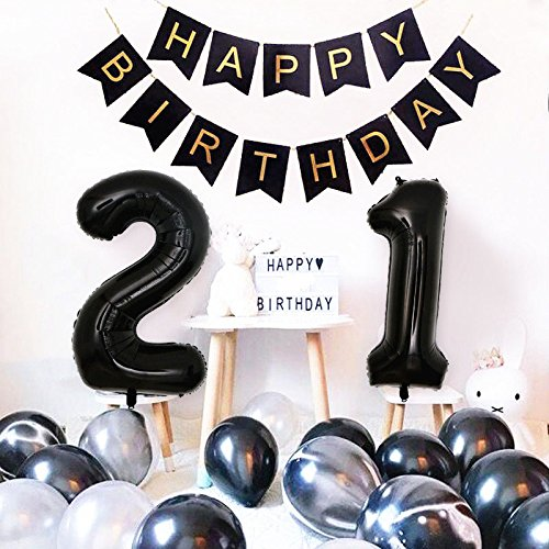 Birthday Party Decorations Happy Birthday Banner 40inch Black Number 21 Balloons White and Black Agate Latex Balloons for 21st or 12th Birthday Party Supplies Photo Props (Black 21)